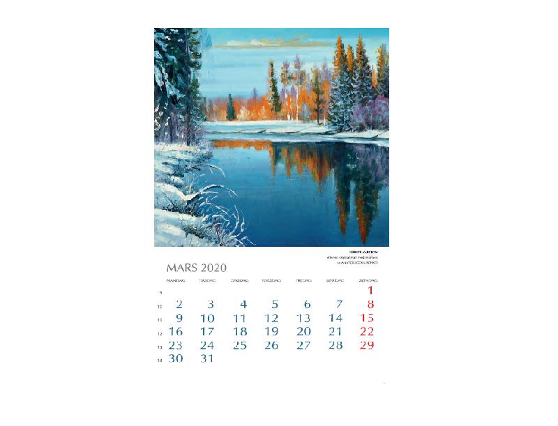 Mars-motiv i Kunstkalenderen. Bilde.