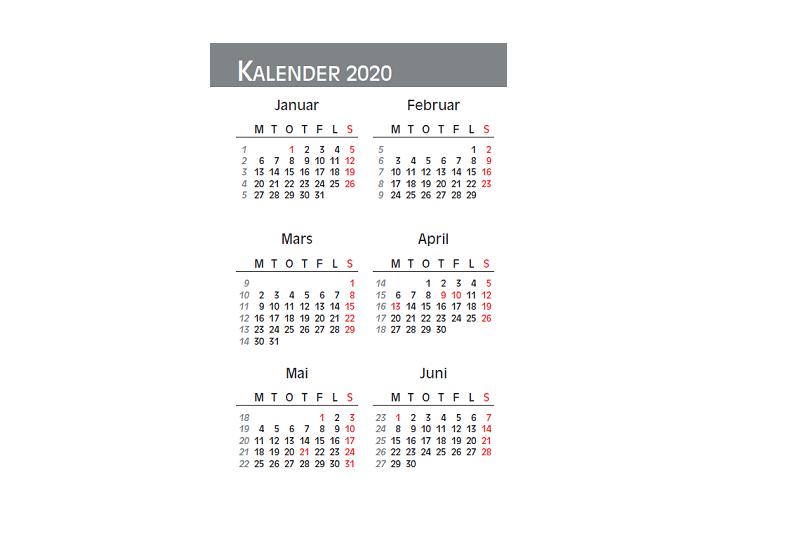 Bilde av midtside i lommekalenderen 2020. Bilde.