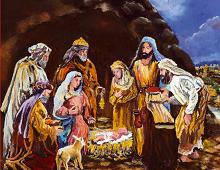 Julekort med motiv av Jesusbarnet i krybben. Bilde.