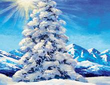 Dobbeltkort med nydelig vintermotiv. Bilde.