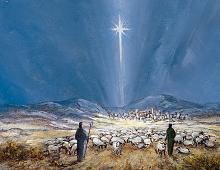 Dobbeltkort med motiv av Betlehemstjernen. Bilde.