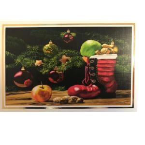 Dobbeltkort med bilde av julekuler og støvel. Bilde.