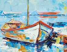 Dobbelkort med klassisk middelhavsbåt. Bilde.