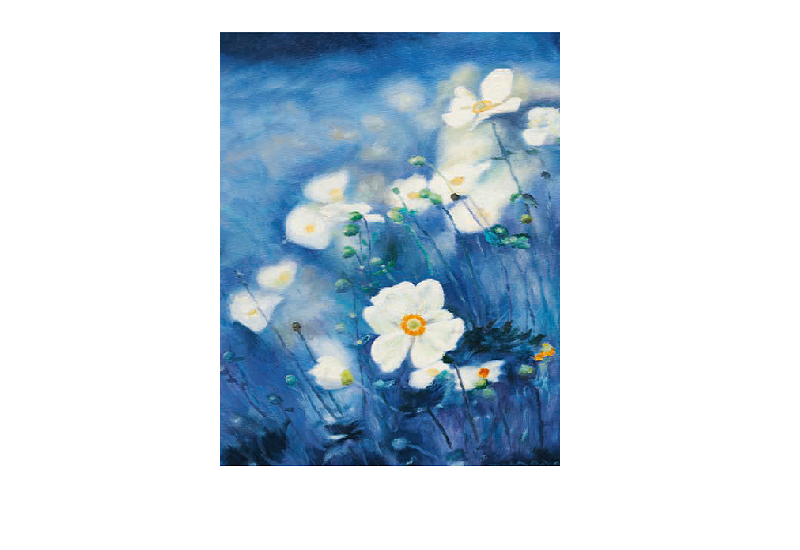 Nydelig dobbeltkort med blomster i duse farger. Bilde.