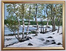 Originalmaleri av munnmaler Sigrid Slora. Vintermotiv. Bilde.