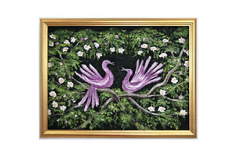 Originalmaleri av munnmaler Sigrid Slora. To rosa fugler med blomster rundt. Bilde.