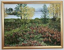 Originalmaleri av munnmaler Sigrid Slora. Naturmotiv med blomster, trær og vann. Bilde.