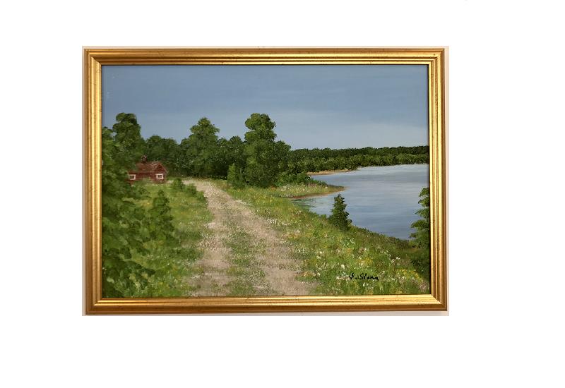Originalmaleri av munnmaler Sigrid Slora. Naturmotiv med liten rød hygge, et vann og en kjerrevei. Bilde.