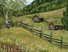 Originalmaleri av munnmaler Sigrid Slora. Naturmotiv med skigard og to laftehytter. Bilde.