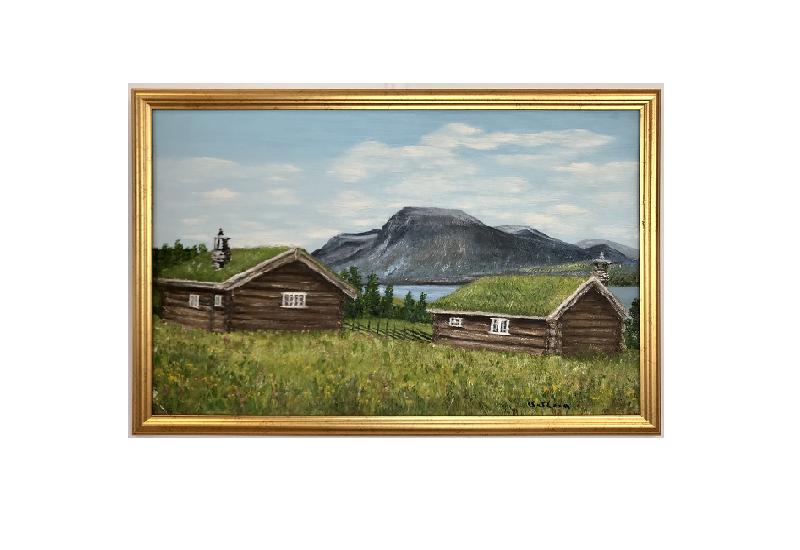 Originalmaleri av munnmaler Sigrid Slora. Naturmotiv med to laftehytter, et vann og fjell. Bilde.