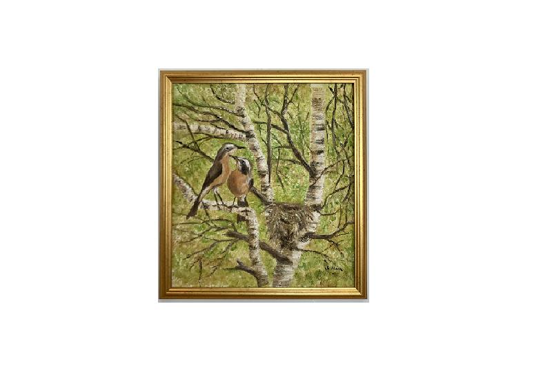 Originalmaleri av munnmaler Sigrid Slora. Naturmotiv av to fugler i et tre med et rede. Bilde.