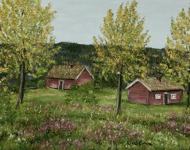 Originalmaleri av munnmaler Sigrid Slora. Naturmotiv av to røde hytter i skogen. Bilde.