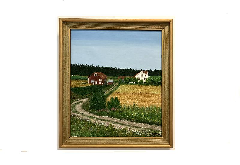 Originalmaleri av munnmaler Sigrid Slora. Naturmotiv med rød låve og hvitt hus. Bilde.