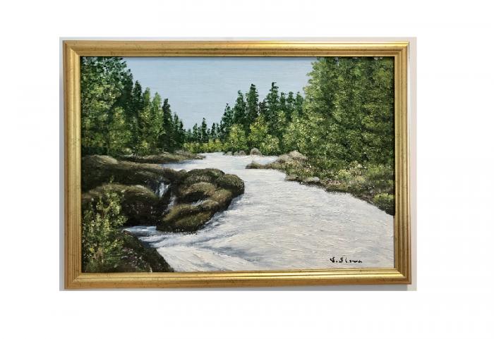 Originalmaleri av munnmaler Sigrid Slora. Naturmotiv med foss og trær. Bilde.