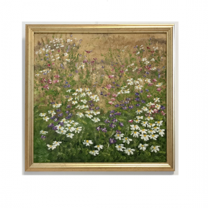 Originalmaleri av munnmaler Sigrid Slora. Sommermotiv av blomstereng. Bilde.