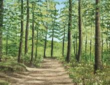 Originalmaleri av munnmaler Sigrid Slora. Naturmotiv med trær og en liten sti. Bilde.