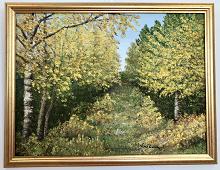 Originalmaleri av munnmaler Sigrid Slora. Høstmotiv. Bilde.