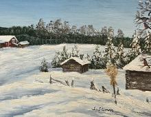 Originalmaleri av munnmaler Sigrid Slora. Vintermotiv av låve, laftede hus, julenek og dompaper. Bilde.