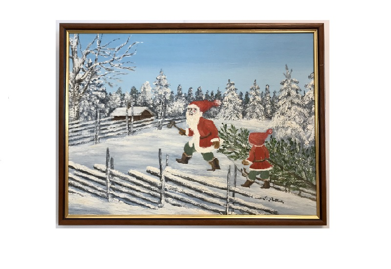 Originalmaleri av munnmaler Sigrid Slora. Julemotiv med to julenisser som bærer på et juletre i skogen. Bilde.