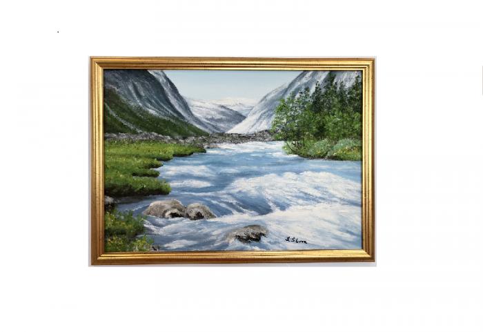 Originalmaleri av munnmaler Sigrid Slora. Naturmotiv med foss og fjell. Bilde.