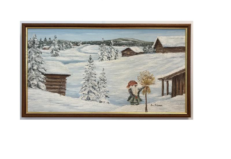 Originalmaleri av munnmaler Sigrid Slora. Vintermotiv av julenisse med julenek og laftehytter. Bilde.