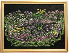 Originalmaleri av munnmaler Sigrid Slora. Blomstermotiv. Bilde.