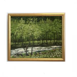 Originalmaleri av munnmaler Sigrid Slora. Naturmotiv med elv og trær. Bilde.