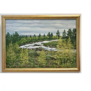 Originalmaleri av munnmaler Sigrid Slora. Naturmotiv med trær og sti. Bilde.