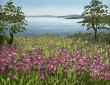 Originalmaleri av munnmaler Sigrid Slora. Naturmotiv med rosa blomster, et vann og to trær. Bilde.