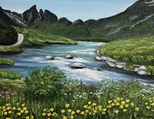 Originalmaleri av munnmaler Sigrid Slora. Naturmotiv med elv, gule og rosa blomster. Bilde.