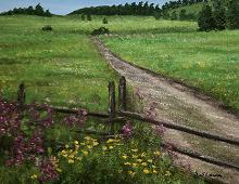 Originalmaleri av munnmaler Sigrid Slora. Naturmotiv med blomster, skigard og en liten kjerrevei. Bilde.