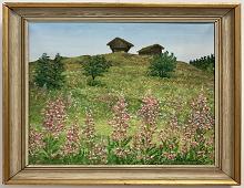 Originalmaleri av munnmaler Sigrid Slora. Naturmotiv med stabbur, laftet hytte og rosa blomster. Bilde.