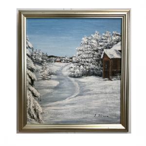 Originalmaleri av munnmaler Sigrid Slora. Vintermotiv med hytte i skogen. Bilde.