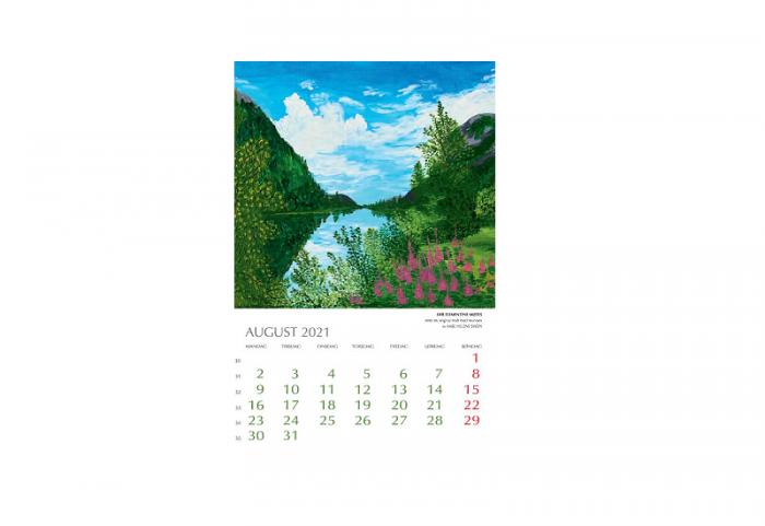 Bilde av august i Kunstkalender 2021. Bilde.