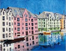Puslespill med motiv av Brosundet, malt av Wenche Løseth. Bilde.