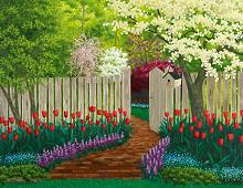 Puslespill med motiv av blomstrende hage. Bilde.