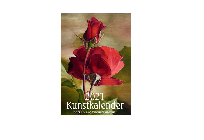 Forside Kunstkalender 2021 med rød rose. Bilde.