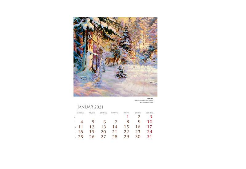 Bilde av januar i Kunstkalender 2021. Bilde.