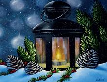 Nydelig julekort med bilde av en lys-lykt og snø. Bilde.