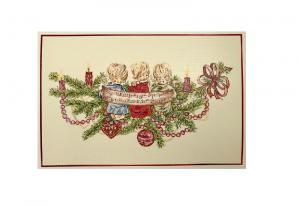 Julekort med tre engler som synger. Bilde.