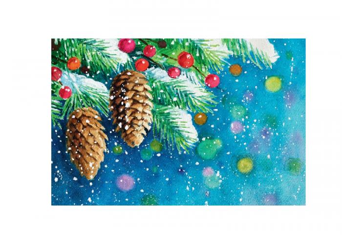 Julekort med kongler og pynt. Bilde.