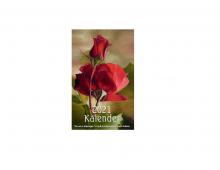Lommekalender med bilde av rose. Bilde.