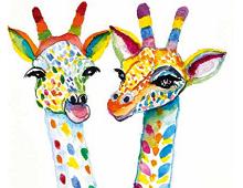 Dobbeltkort med bilde av to giraffer på karneval. Bilde.