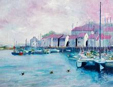 Dobbeltkort med bilde av en havn. Bilde.