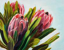 Dobbeltkort med bilde av tre blomster. Bilde.