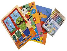 Fargebøker med fargestifter fra Staedtler. Bilde.