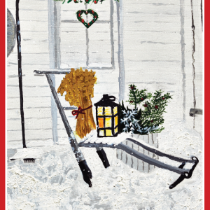 Dobbelt julekort med bilde av sparkstøtting, julenek og lys lykt. Bilde.