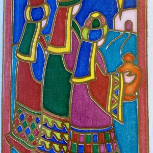 Dobbelt julekort med bilde av de hellige tre konger. Bilde.